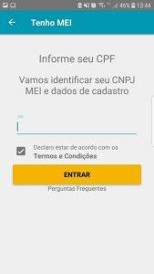 Cartão CNPJ MEI - Digite o CPF