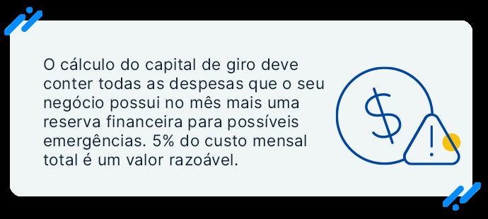 Veja o calculo do capital de giro